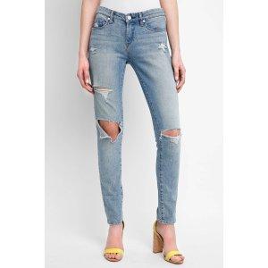 Blank Distressed Skinny Dipper Jeans