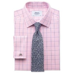 Classic fit non-iron Prince of Wales check pink and blue shirt | Charles Tyrwhitt
