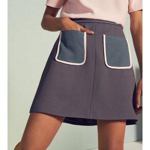 Colour block pocket skirt - Mid Gray | Skirts | Ted Baker