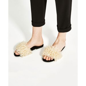 FAUX FUR SLIDES - View all-SHOES-WOMAN | ZARA United States