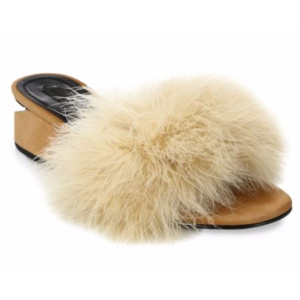 Alexander Wang - Lou Tilt-Heel Feather & Suede Slides - saks.com