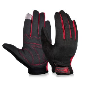 Touch Screen Cycling Gloves in Black/Red