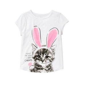 Girls White Bunny Cat Tee by Gymboree