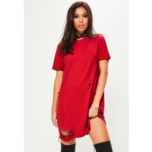 Red Distressed Pocket T-Shirt Dress