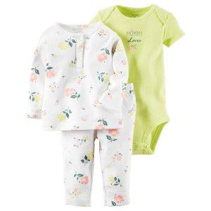 Baby Girl 3-Piece Babysoft Bodysuit & Pant Set | Carters.com