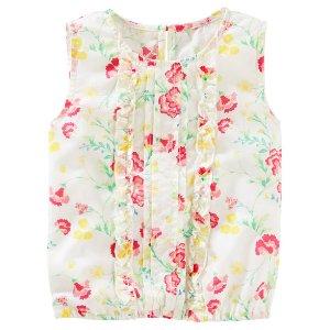 Toddler Girl Pleated Floral Print Ruffle Top | OshKosh.com