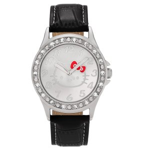 Hello Kitty Silvertone Rhinestone Faux Crocodile Leather Strap Watch - Free Shipping On Orders Over $45 - Overstock.com - 20142700
