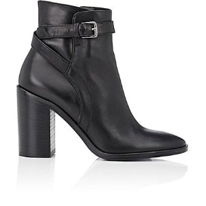 Barneys New York Crisscross-Strap Leather Ankle Boots