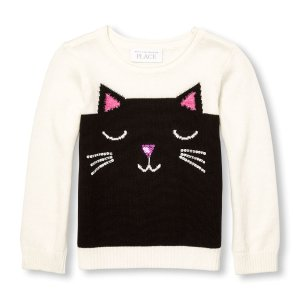 Toddler Girls Embellished Cat Face Sweater | The Children's Place