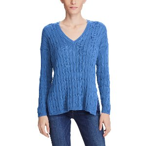 Cable-Knit Side-Slit Sweater - V-Necks � Sweaters - RalphLauren.com