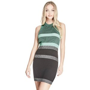 Merina Plaited Stripe Dress at Guess