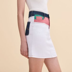 JODIS Short multicoloured denim skirt - Skirts & Shorts - Maje.com