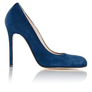 Suede Rounded-Toe Pumps