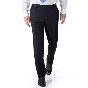 Navy slim fit twill business suit pants | Charles Tyrwhitt