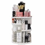 Jerrybox 360 Degree Rotating Makeup Organizer; Adjustable, Multi-Function Cosmetic Storage Box