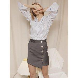 YUPPE button wrap skirt_charcoal