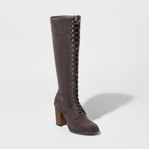 Women's Marni Lace-Up Heeled Tall Boots - A New Day™