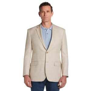 Tropical Blend Tailored Fit Tan Herringbone Sportcoat - All Clearance | Jos A Bank