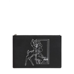 MEDIUM BAMBI PRINTED LEATHER POUCH