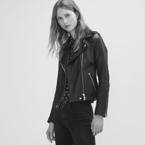 MADONE Leather jacket with woven detailing