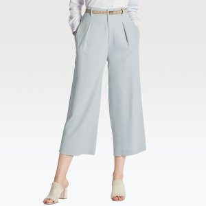 WOMEN DRAPE WIDE LEG ANKLE LENGTH PANTS @ Uniqlo