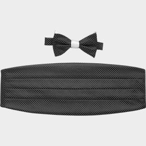 Calvin Klein Black and White Dot Bow Tie & Cummerbund Set - Men's Formal Vests & Cummerbunds | Men's Wearhouse