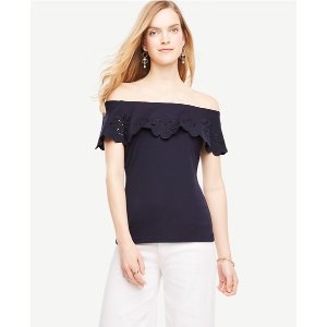 Embroidered Ruffle Off The Shoulder Top | Ann Taylor