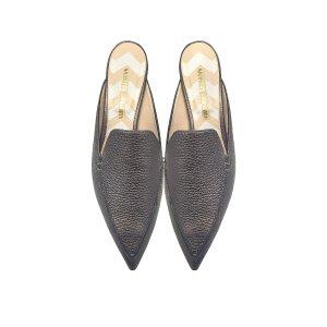 Nicholas Kirkwood Beya Pewter Metallic Tumbled Leather Loafer