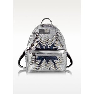 MCM White Flake Small Dual Stark Cyber Studs Backpack at FORZIERI