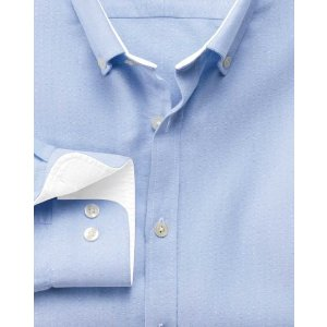 Extra slim fit sky blue washed Oxford shirt | Charles Tyrwhitt