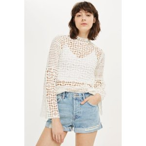 Chemical Lace Trumpet Sleeve Top - Tops - Clothing - Topshop USA