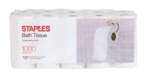 Staples 1000 Sheet Bath Tissue Rolls, 20 Rolls/Case, 1-Ply