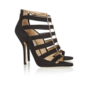 Fathom cutout suede and metallic leather sandals | Jimmy Choo