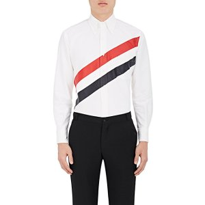 Thom Browne Striped Cotton Canvas Button-Front Shirt | Barneys New York