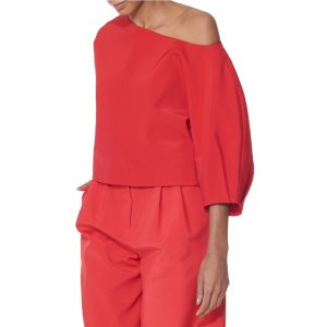 Tibi Stretch Faille Sculpted Sleeve Top