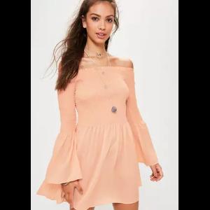 Missguided - Pink Shirred Bardot Swing Dress