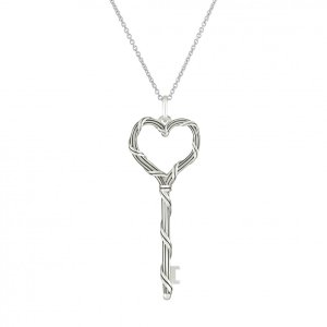 Peter Thomas Roth Ribbon and Reed Signature Classic Heart Key Pendant Necklace in sterling silver