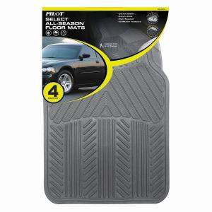 Pilot Automotive All Season 4 pc. Rubber Floor Mat Set - Gray