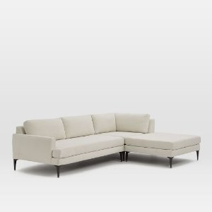 Andes 3-Piece Chaise Sectional – Snow (Nubby Weave) | west elm