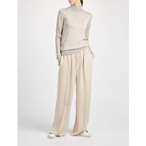 Lurex Knit High Neck Sweater in Neutral | JOSEPH
