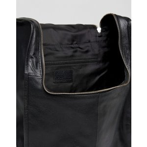 ASOS Leather Backpack In Black With Zip Top at asos.com