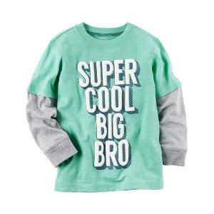 Kid Boy Long-Sleeve Layered-Look Cool Big Bro Graphic Tee | Carters.com
