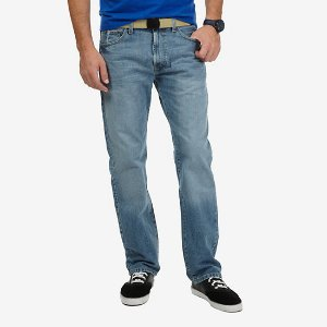 Relaxed Fit Light Wash Crosshatch Denim Jeans