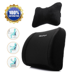2 in 1 100% Premium Memory Foam Lumbar Cushion with Neck Pillow-Supportive and Comfortable Seat Back Cushion with Lifetime Warranty