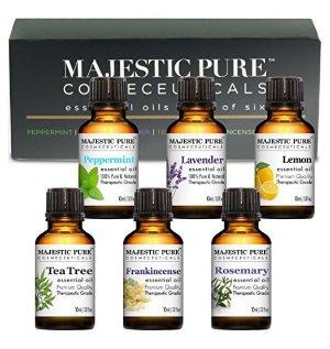 Essential Oils Set of Premium 6 from Majestic Pure, Therapeutic Grade Aromatherapy Oil Gift Set - 10 ml