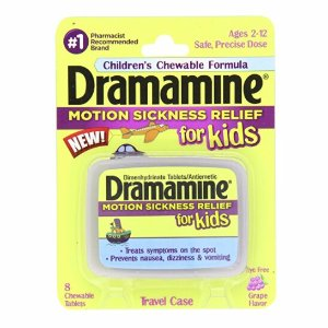 $3Dramamine Motion Sickness Relief for Kids, Grape Flavor, 8 Count