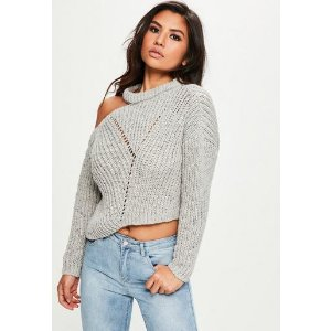 Missguided - Gray Knitted Cut Out Sweater