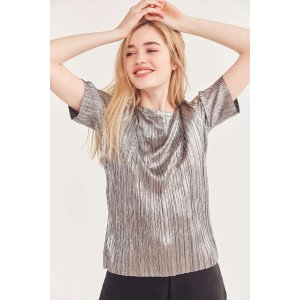Silence + Noise Hansoll Metallic Accordion Pleat Top | Urban Outfitters