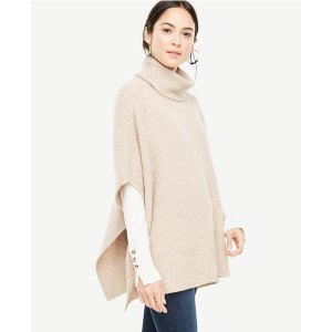 Cashmere Flecked Ribbed Poncho | Ann Taylor