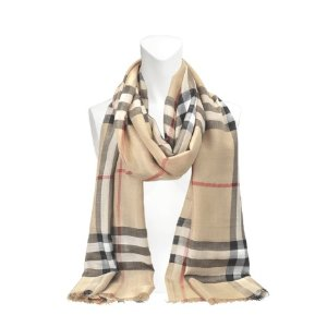 Burberry Giant Check wool and silk Gauze scarf 220x70 cm